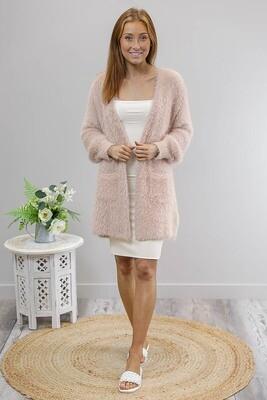 Eyelash Knit Cardigan - Dusty Pink