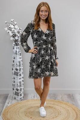 Sheila Tier L/S Miniish Dress - Black/White Posie