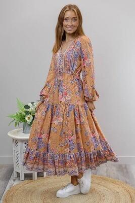 Chateau L/S BoHo Maxi Dress - Mocha/Pink/Blue Fleur
