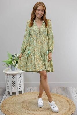 Hannah L/S BoHo Mini Dress - Mint/Rust Paisley