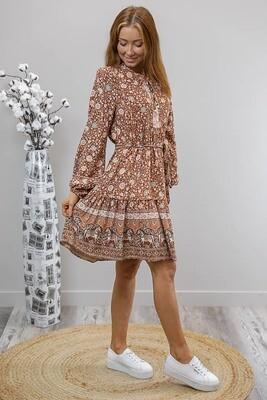 Lauren L/S BoHo Miniish Dress - Milk Choc/Blue Fleur