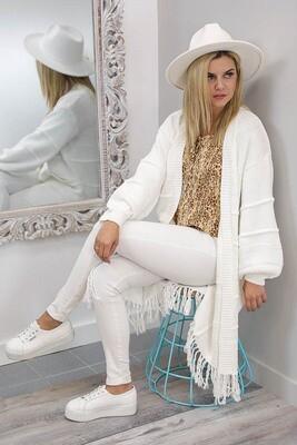 Fiesta Fringe Cardigan - White