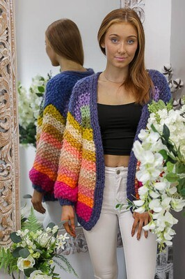 Rainbow Dash Hand Knit Cardigan - Multi