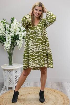 Zola L/S Mini Dress - Olive/Ivory Zebra