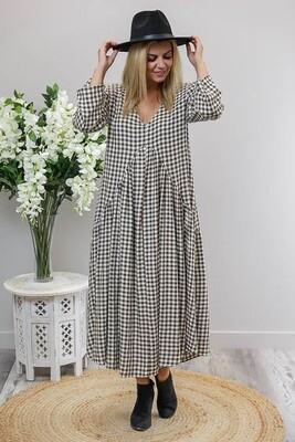 Macey L/S Maxi Dress - Dark Gray Gingham