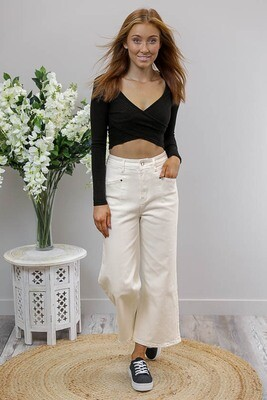 Flarey Mary Culotte Jean Pants - Off White