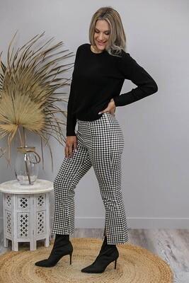 Tess Fitted Split Flare Pants - Black/White Gingham