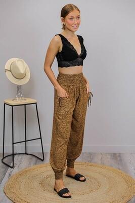 Harem Pants - Tan/Black Micro Leo