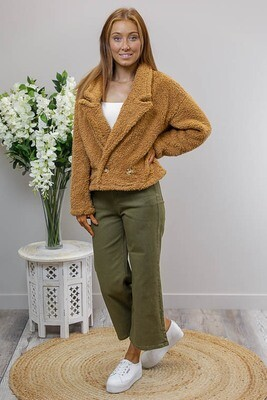 Dobby Double Breasted Crop Jacket - Tan