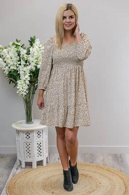 Kelly Shirred L/S Miniish Dress - Latte