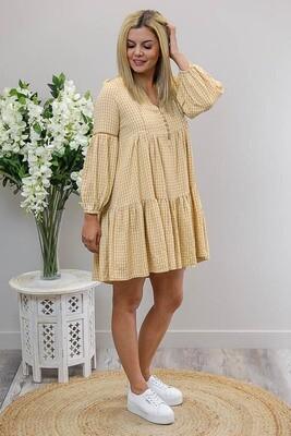 Hannah L/S BoHo Mini Dress - Caramel Gingham