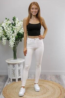 Johnie Hi Waist Jeans - White Denim