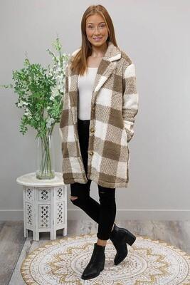 Tartare Fluffy Coat - Brown/White Chequered