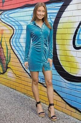 Velvet Dream L/S Mini Dress - Azure Blue