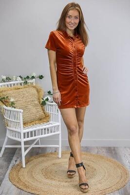 Velvet Dream Mini Dress - Rust