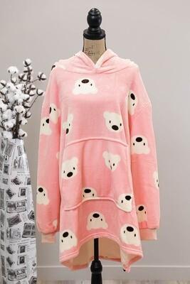 Fifi Fluff Light Oversized Hoodie - Pink Polar Bear