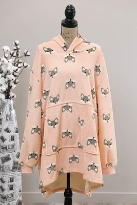 Fifi Fluff Light Oversized Hoodie - Pink/Gray Fox