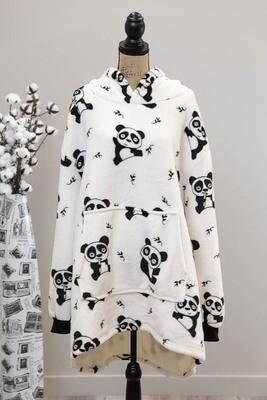 Fifi Fluff Light Oversized Hoodie - White/Playing Panda