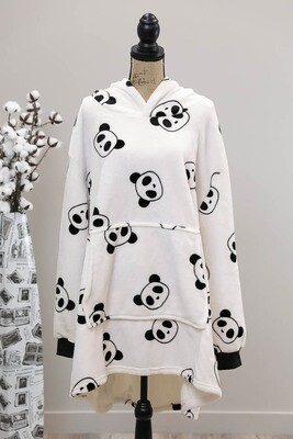 Fifi Fluff Light Oversized Hoodie - White/Panda Head