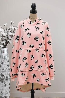 Fifi Fluff Light Oversized Hoodie - Pink/Panda