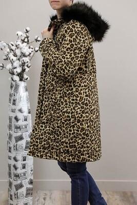 Tanies Fave Reversible Puffer Coat - Black/Tan Leo