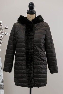 Lulu Faux Fur Reversible Puffer Coat - Black