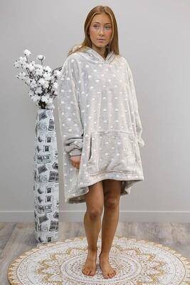 Fifi Fluff Light Oversized Hoodie - Gray/White Hearts