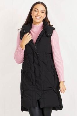 Woodlands Long Puffer Vest - Black