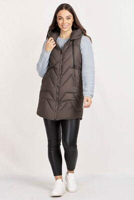 Conjola Long Puffer Vest - Dark Gray
