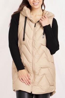 Conjola Long Puffer Vest - Beige