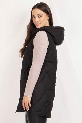 Conjola Long Puffer Vest - Black