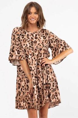 Sally Who Tier Miniish Dress - Mocha Leo