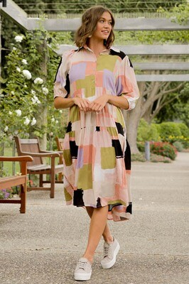 Chance Collar Midi Dress - Blush Multi