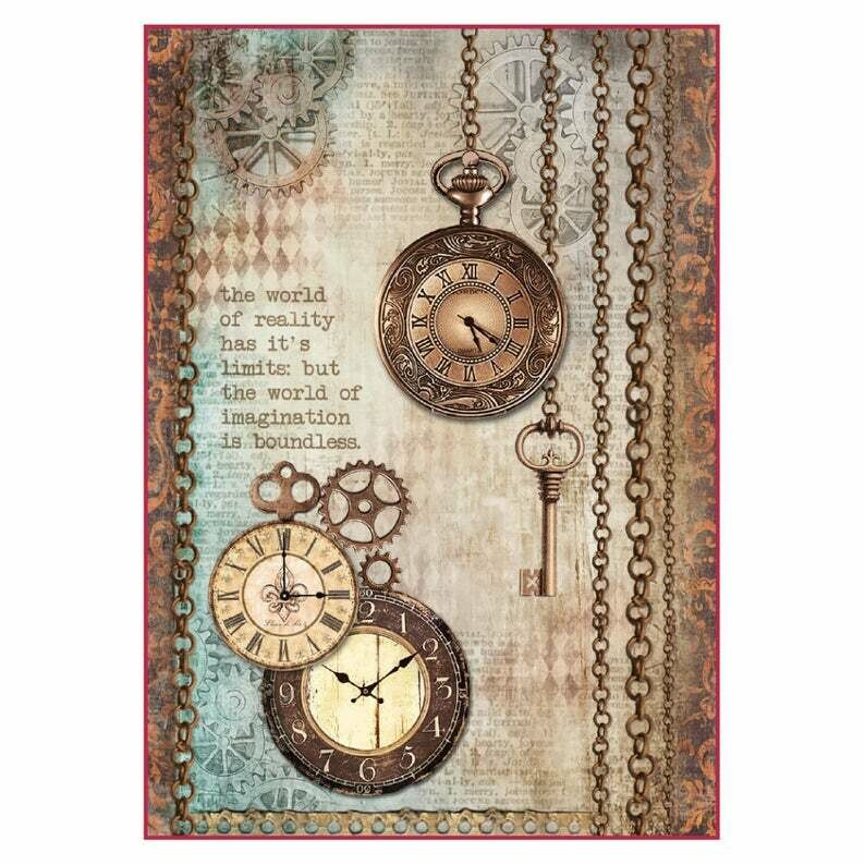 Clockwise Clock and Keys - A4 -Stamperia Rice Paper