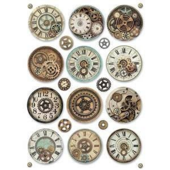 Voyages Fantastiques Gears - A4 -Stamperia Rice Paper