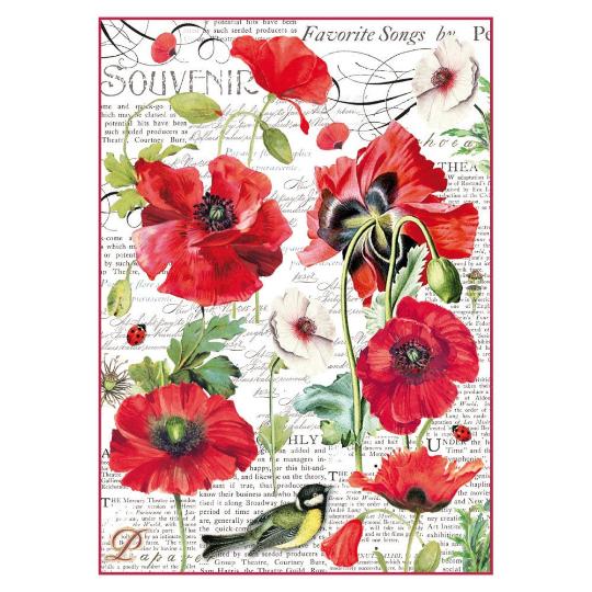 Botanic Poppy - A4 -Stamperia Rice Paper