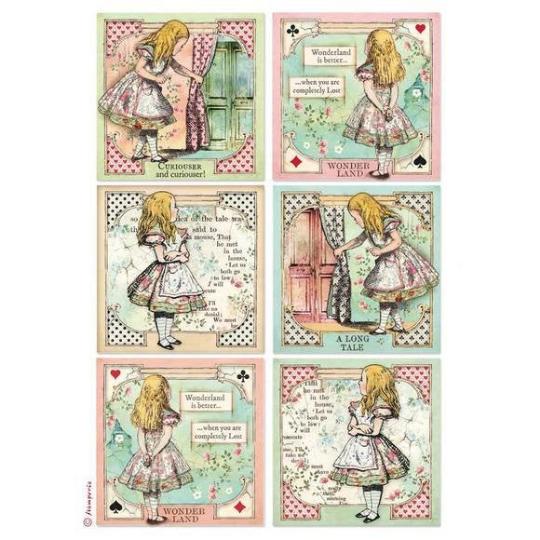Alice Cards - A4 -Stamperia Rice Paper