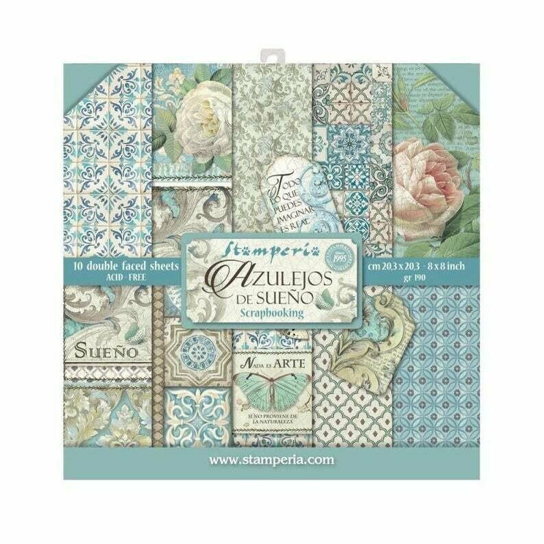 Stamperia Azulejos- 8 x 8 Paper Pad