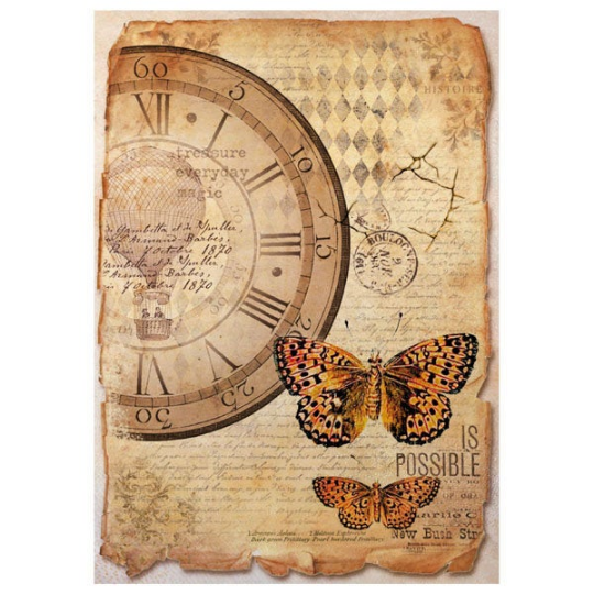 Mix Media Clock and Butterfly - A4 -Stamperia Rice Paper