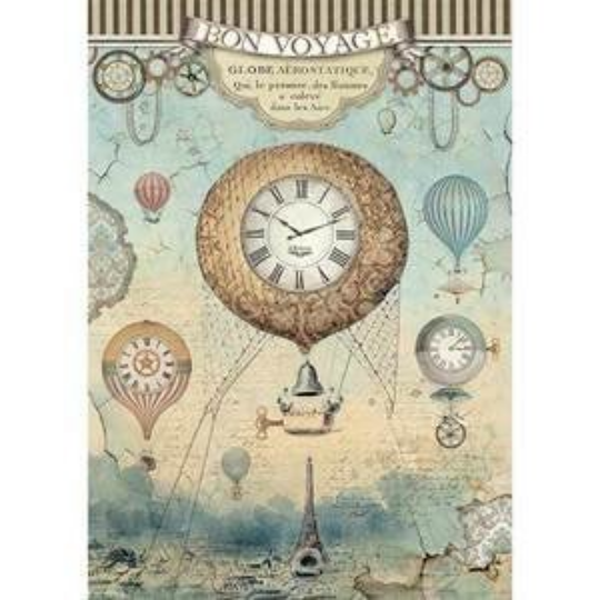 Voyages Fantastiques Balloon - A4 -Stamperia Rice Paper
