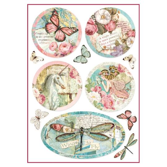 Wonderland Fantasy Decorations - A4 -Stamperia Rice Paper