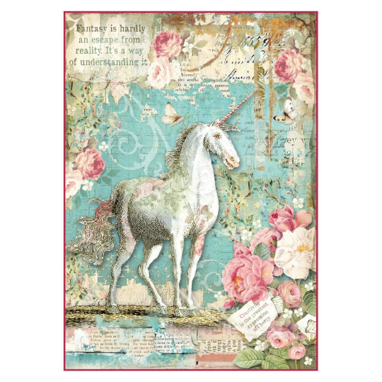 Wonderland Unicorn - A4 -Stamperia Rice Paper