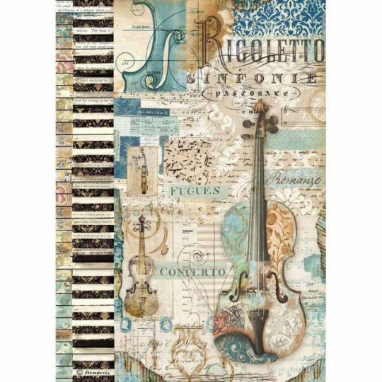 Music Violin - A4 -Stamperia Rice Paper