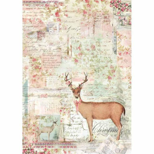 LIMITED STOCK Pink Christmas Reindeer - A4 -Stamperia Rice Paper