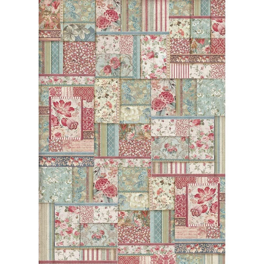 Flower Patchwork - A3 -Stamperia Rice Paper