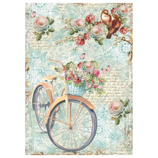 Bike and Branch with Flowers - A4 -Stamperia Rice Paper