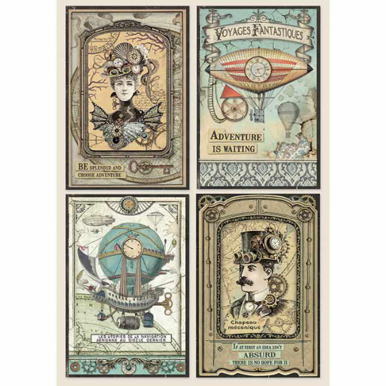 Voyages Fantastiques Cards - A4 -Stamperia Rice Paper