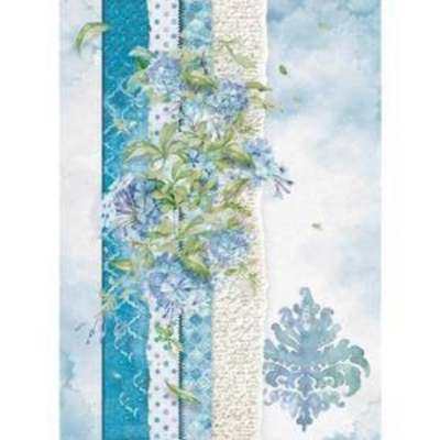 Flowers For You - Light Blue - A4 -Stamperia Rice Paper