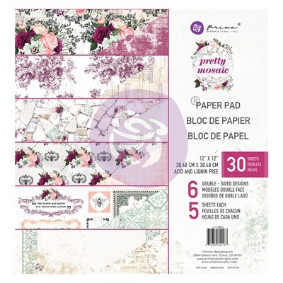Pretty Mosaic Collection 12x12 Paper Pad - Prima Marketing