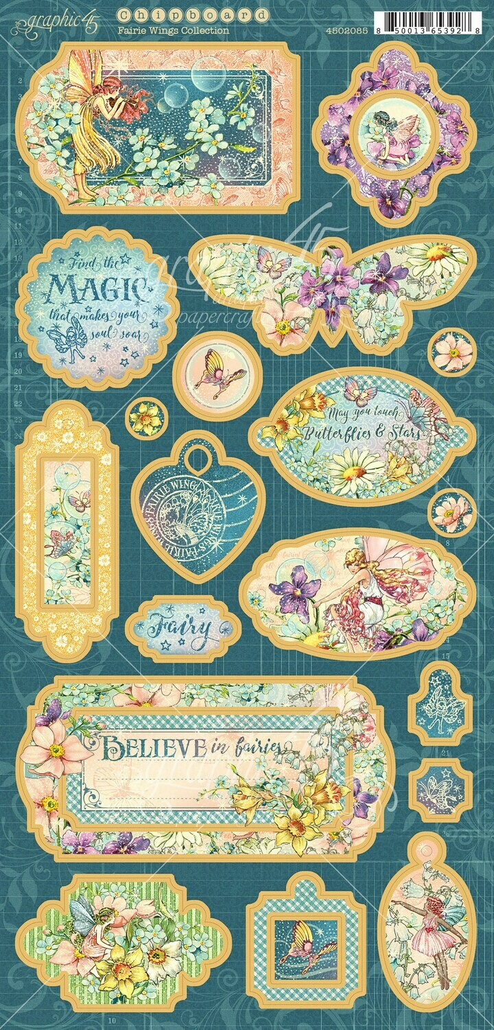Fairie Wings Decorative Chipboard - Fairie Wings Collection - Graphic 45